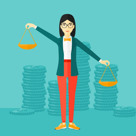 scale of justice: An asian woman holding scales in hands on a blue background with stacks of coins vector flat design illustration. Square layout.