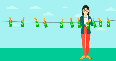 asian business: An asian business woman drying banknotes on clothesline on the background of blue sky vector flat design illustration. Horizontal layout.