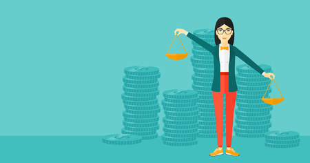 outweigh: An asian woman holding scales in hands on a blue background with stacks of coins vector flat design illustration. Horizontal layout.