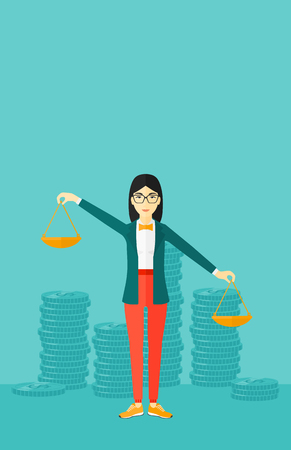 outweigh: An asian woman holding scales in hands on a blue background with stacks of coins vector flat design illustration. Vertical layout.
