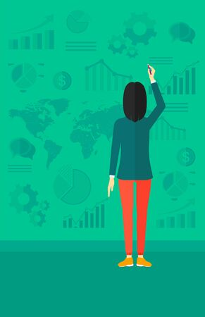 An asian woman turned back painting something on a green wall with many charts and a map vector flat design illustration. Vertical layout.