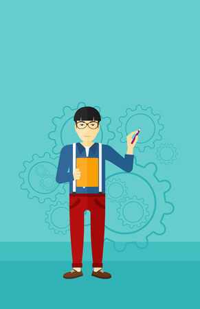 An asian man with a pen and a file in hands on a blue background with cogwheels vector flat design illustration. Vertical layout.