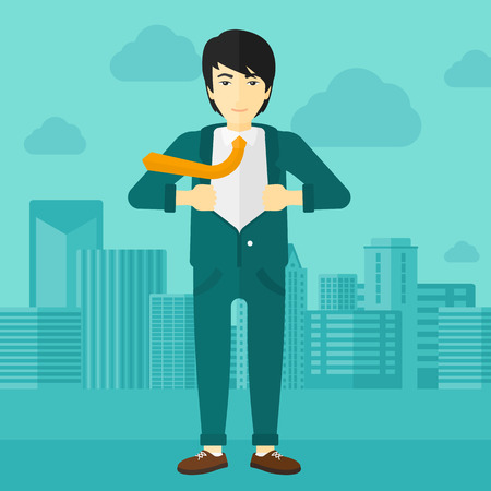 undress: An asian man taking off his jacket on the background of modern city vector flat design illustration. Square layout.