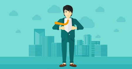 undress: An asian man taking off his jacket on the background of modern city vector flat design illustration. Horizontal layout.