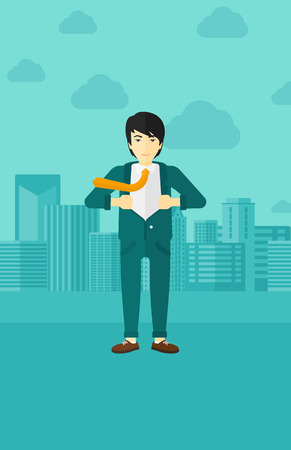 undress: An asian man taking off his jacket on the background of modern city vector flat design illustration. Vertical layout.