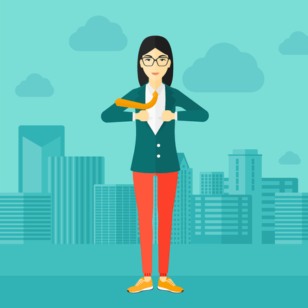 undress: An asian woman taking off her jacket on the background of modern city vector flat design illustration. Square layout. Illustration