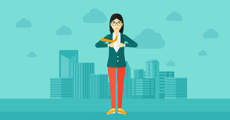 undress: An asian woman taking off her jacket on the background of modern city vector flat design illustration. Horizontal layout.