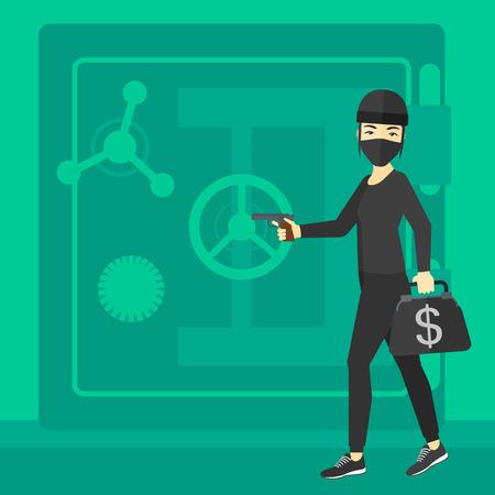 big break: An asian professional burglar in black mask with hand gun near the big safe door vector flat design illustration. Square layout. Illustration