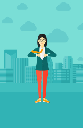 undress: An asian woman taking off her jacket on the background of modern city vector flat design illustration. Vertical layout.