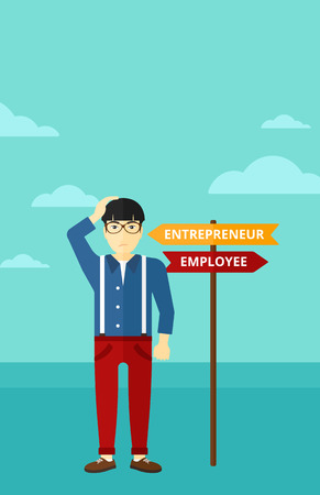 career choices: An asian confused man with two career choices in front of him on the background of blue sky vector flat design illustration. Vertical layout.