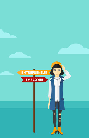 career choices: An asian confused woman with two career choices in front of her on the background of blue sky vector flat design illustration. Vertical layout.