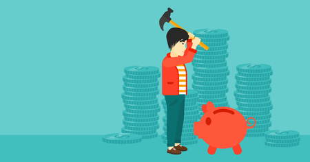 An asian man with a hammer breaking a piggy bank on a blue background with stacks of coins vector flat design illustration. Horizontal layout.