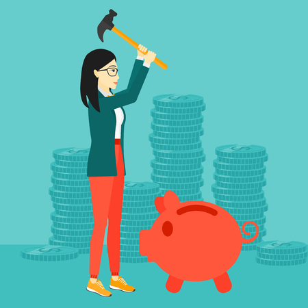 desperation: An asian woman with a hammer breaking a piggy bank on a blue background with stacks of coins vector flat design illustration. Square layout.