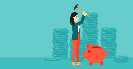 desperation: An asian woman with a hammer breaking a piggy bank on a blue background with stacks of coins vector flat design illustration. Horizontal layout. Illustration