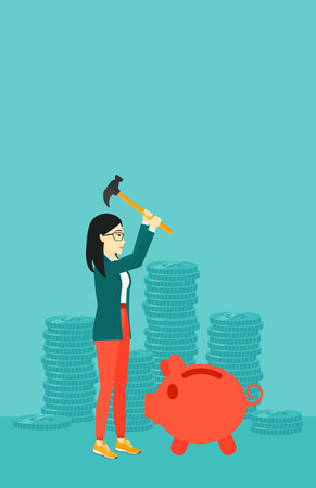 desperation: An asian woman with a hammer breaking a piggy bank on a blue background with stacks of coins vector flat design illustration. Vertical layout. Illustration