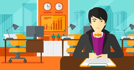 signing: An asian man sitting at the table and signing a contract on the background of panoramic modern office with city view vector flat design illustration. Horizontal layout. Illustration