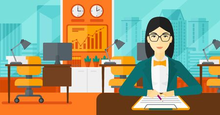 signing a contract: An asian woman sitting at the table and signing a contract on the background of panoramic modern office with city view vector flat design illustration. Horizontal layout. Illustration