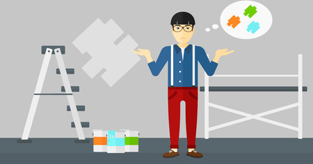 paint samples: An asian man choosing color for a room on a background of wall with paint samples vector flat design illustration. Horizontal layout.