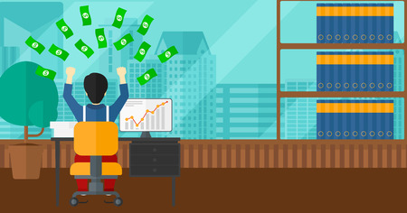 money flying: An asian man sitting in front of computer with raised hands and money flying above him on the background of panoramic modern office with city view vector flat design illustration. Horizontal layout. Illustration