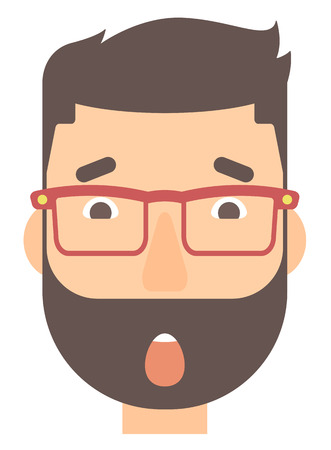 unexpectedness: Scared hipster man with open mouth vector flat design illustration isolated on white background. Vertical layout. Illustration
