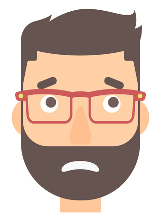 embarrassed: Embarrassed hipster man with the beard vector flat design illustration isolated on white background. Vertical layout.