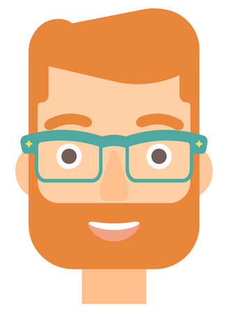 Cheerful hipster man in glasses laughing ecstatically vector flat design illustration isolated on white background. Vertical layout.