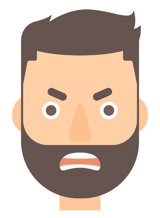 Raging hipster man screaming vector flat design illustration isolated on white background. Vertical layout. Illusztráció