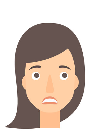 ashamed: Young embarrassed woman vector flat design illustration isolated on white background. Vertical layout. Illustration