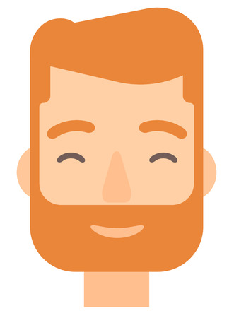 pleased: Pleased hipster man with his eyes closed vector flat design illustration isolated on white background. Vertical layout. Illustration