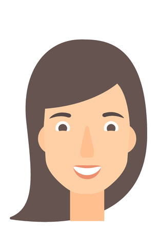 toothy smile: Smiling happy woman vector flat design illustration isolated on white background. Vertical layout. Illustration