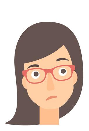 Junge Frau depressiv Vektor flache Design-Darstellung auf weißem Hintergrund. Vertikal-Layout.