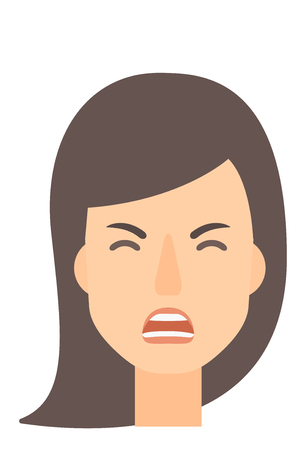 Screaming aggressive woman vector flat design illustration isolated on white background. Vertical layout. Vettoriali