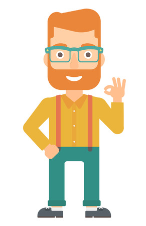 overjoyed: A happy young hipster man with the beard gesturing OK sign vector flat design illustration isolated on white background. Vertical layout. Illustration