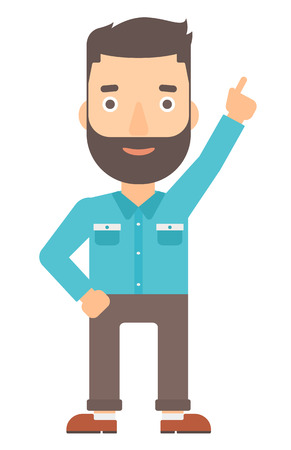 forefinger: A happy young hipster man with the beard pointing up with his forefinger vector flat design illustration isolated on white background. Vertical layout.