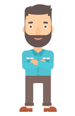 isolated: A happy hipster man with the beard standing  with crossed arms vector flat design illustration isolated on white background. Vertical layout. Illustration