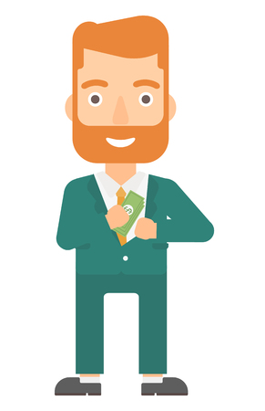 bribery: A businessman putting money in his pocket vector flat design illustration isolated on white background. Vertical layout.