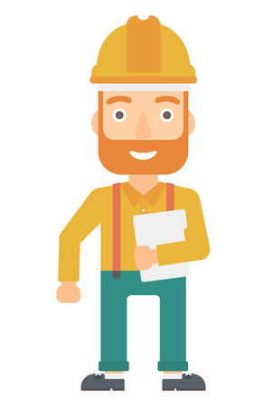 e book device: A hipster man in hardhat standing with a laptop in hand vector flat design illustration isolated on white background. Vertical layout. Illustration