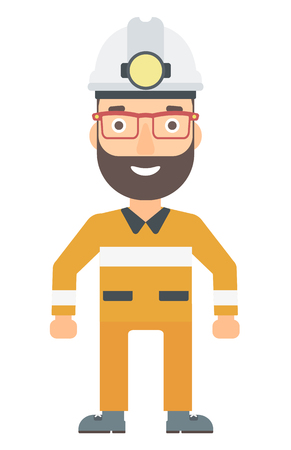 A hipster miner with the beard in hardhat with torch vector flat design illustration isolated on white background. Vertical layout.