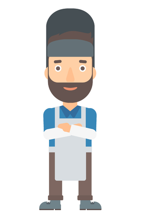 A hipster welder with the beard  vector flat design illustration isolated on white background. Vertical layout.