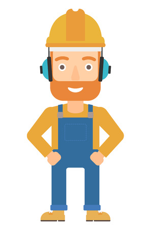yellow hard hat: A hipster man wearing a yellow hard hat and headphones vector flat design illustration isolated on white background. Vertical layout.
