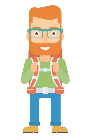 A hipster man with backpack hiking vector flat design illustration isolated on white background. Vertical layout.