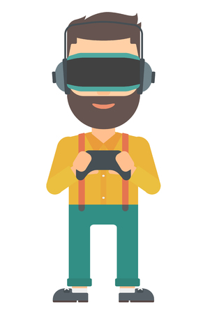 A  hipster man with the beard wearing a virtual relaity headset and holding a remote control in hands vector flat design illustration isolated on white background. Vertical layout.
