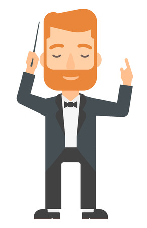 An orchestra conductor directing with his baton vector flat design illustration isolated on white background. Vertical layout.