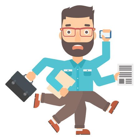 busy beard: A hipster man with many hands holding papers, suitcase, devices vector flat design illustration isolated on white background. Vertical layout.