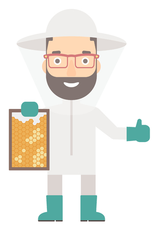 apiarist: The beekeeper in protective suit holding a framework in hand and showing thumb up vector flat design illustration isolated on white background. Vertical layout.