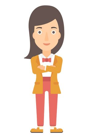 fullbody: A happy woman standing with crossed arms vector flat design illustration isolated on white background. Vertical layout.