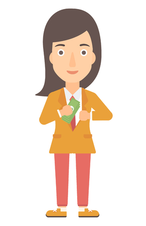 putting: A business woman putting money in her pocket vector flat design illustration isolated on white background. Vertical layout.