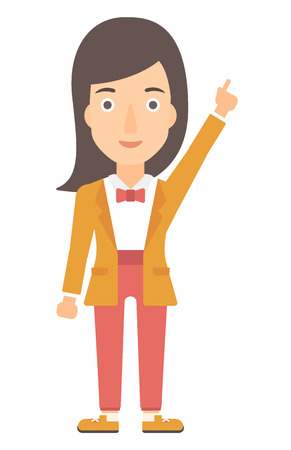 woman pointing up: A happy young woman pointing up with her forefinger vector flat design illustration isolated on white background. Vertical layout. Illustration