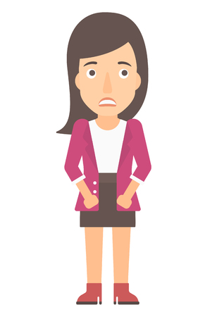 awkwardness: Embarrassed woman vector flat design illustration isolated on white background. Vertical layout.