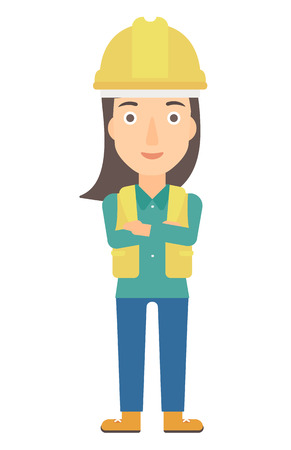 constructor: Confident constructor standing with arms crossed vector flat design illustration isolated on white background. Vertical layout.